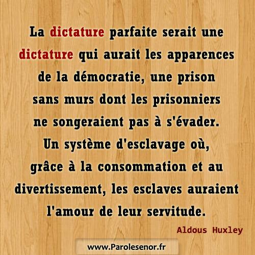 La dictature parfaite serait une dictature qui aurait les apparences de la démocratie