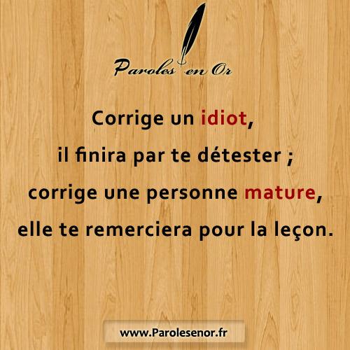 Corrige un idiot, il finira par te détester ; corrige une personne mature, elle te remerciera pour la leçon.