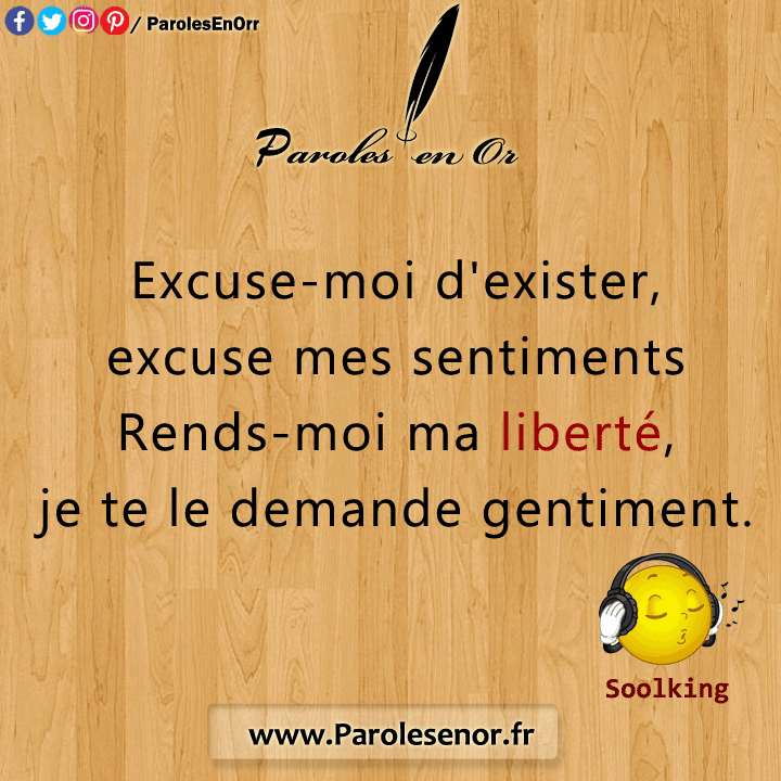 Excuse-moi d'exister, excuse mes sentiments