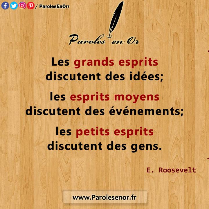 Les grands esprits discutent des idées