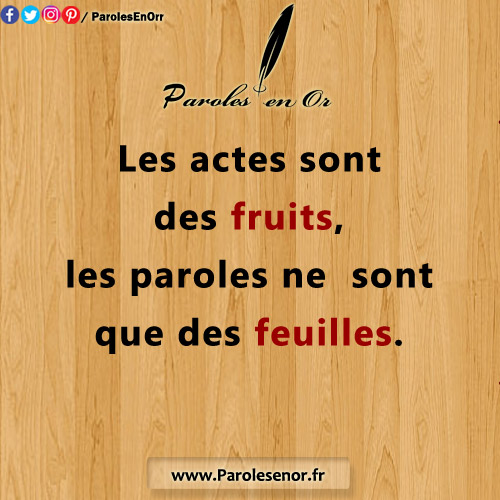 Les actes sont des fruits, les paroles ne sont que des feuilles.