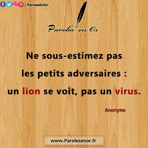 Ne sous-estimez pas les petits adversaires : un lion se voit, pas un virus. citation d'Anonyme
