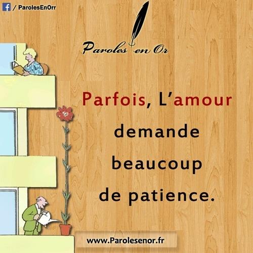Parfois l'amour demande beaucoup de patience