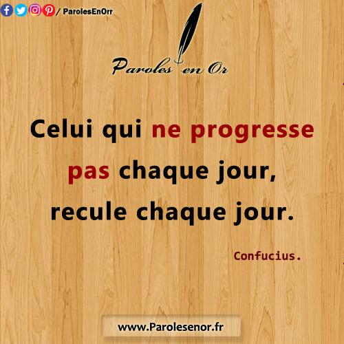 Celui qui ne progresse pas chaque jour, recule chaque jour. - Une citation de Confucius.
