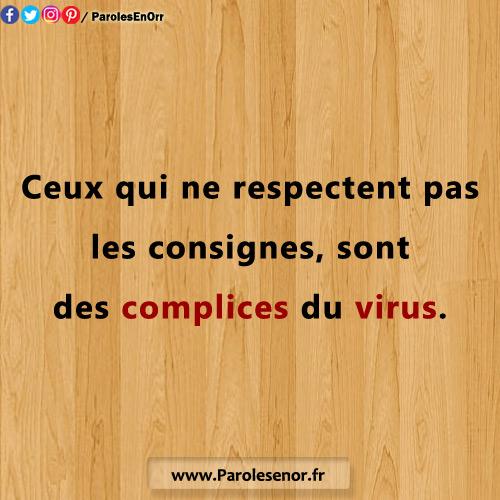 Ceux qui ne respectent pas les consignes, sont des complices du virus. Pandémie du Coronavirus COVID-19