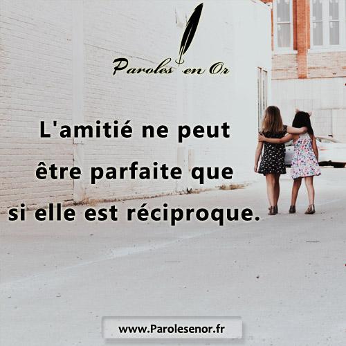 L'amitié ne peut être parfaite que si elle est réciproque.