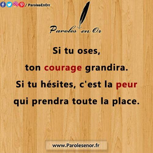 Si tu oses, ton courage grandira. Si tu hésites, c'est la peur qui prendra toute la place.Citation sur le courage.