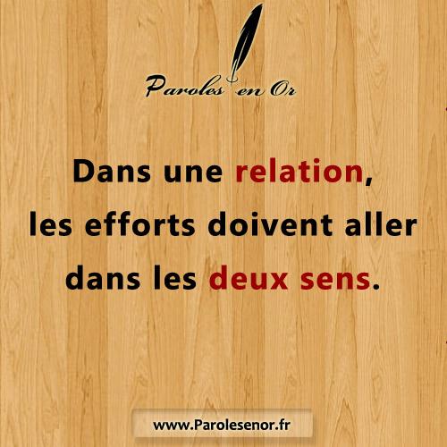 Dans une relation, les efforts doivent aller dans les deux sens.