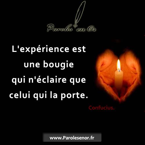 L'expérience est une bougie qui n'éclaire que celui qui la porte