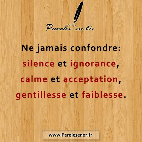 Ne jamais confondre silence et ignorance
