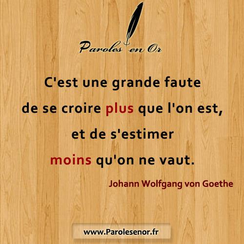 C'est une grande faute de se croire plus que l'on est, et de s'estimer moins qu'on ne vaut. Johann Wolfgang von Goethe