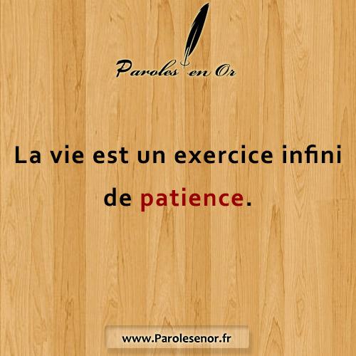 La vie est un exercice infini de patience